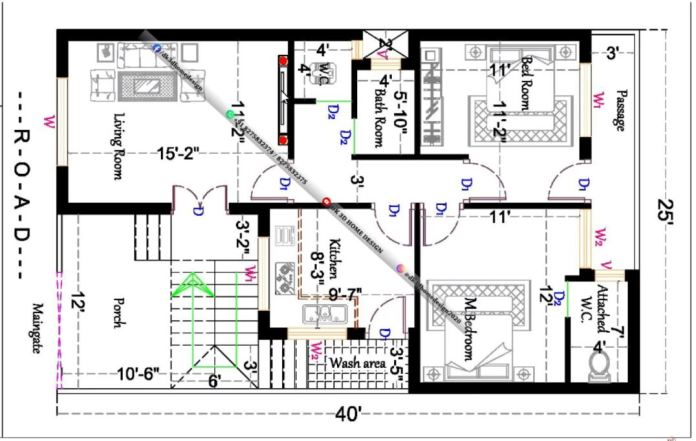 25*40 house plan south facing