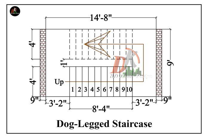 Dog-legged staircase design