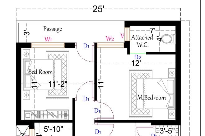 25 feet by 40 feet 2 bedroom house plan
