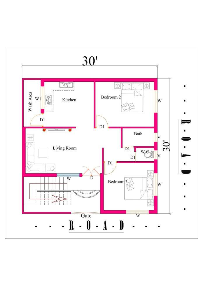 30x30 2bhk house plan