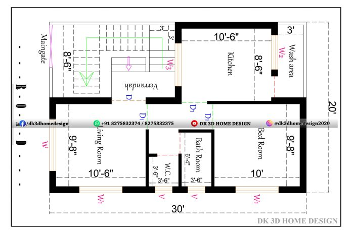 20*30 1bhk house plan in 600 square feet