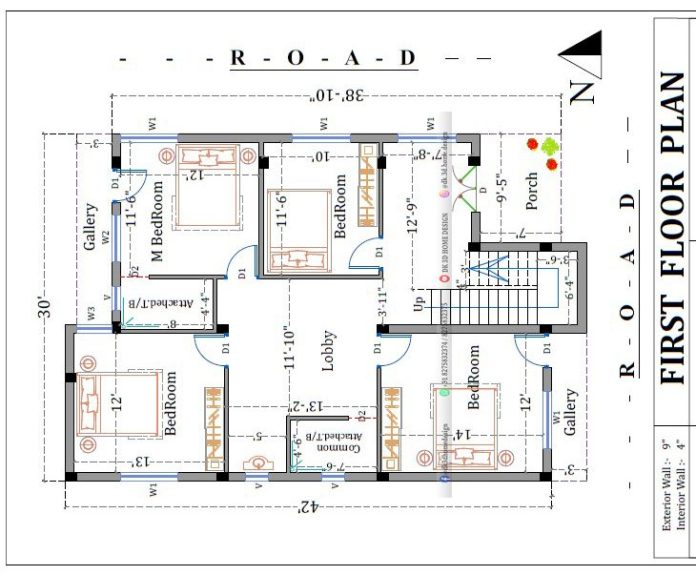 2 floor house plan 30 by 40