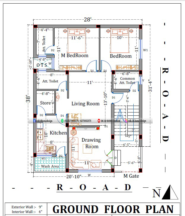 30*40 2bhk house plan in 1200 square feet with pooja room