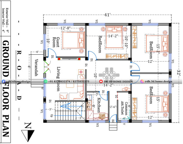 3 cent house plan double floor