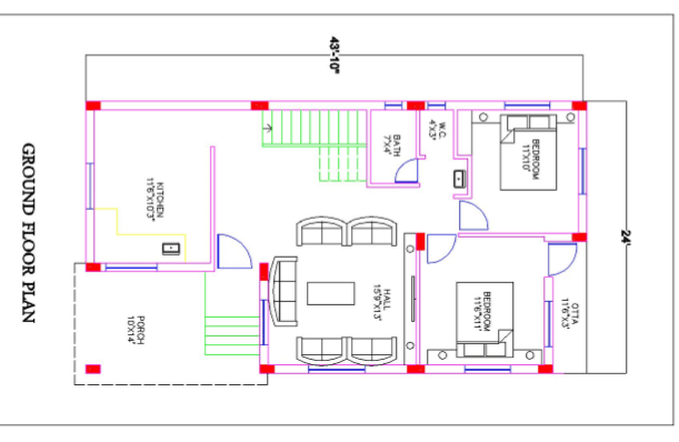 25*45 house plan 2bhk