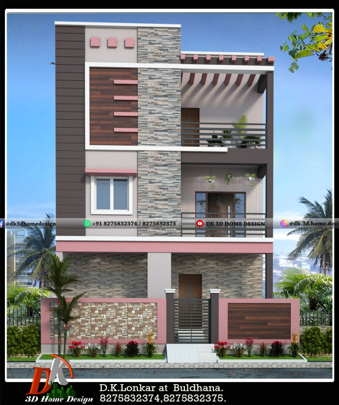 Double floor simple house exterior elevation colour combinations