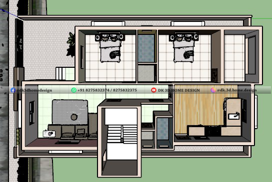 30 by 55 2bhk house plan cut section