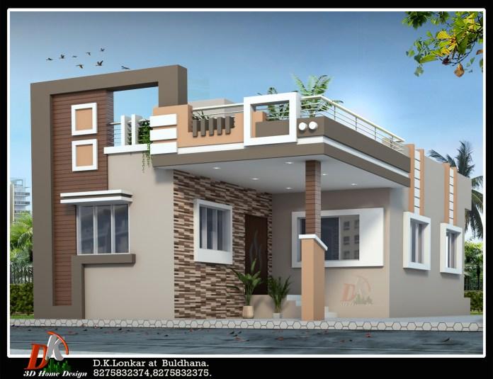 25*45 house front design 3d