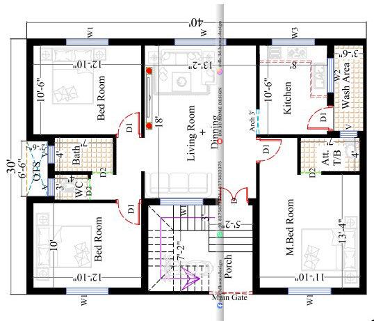 40x30 house plan single floor 3bhk in 1200 sq ft