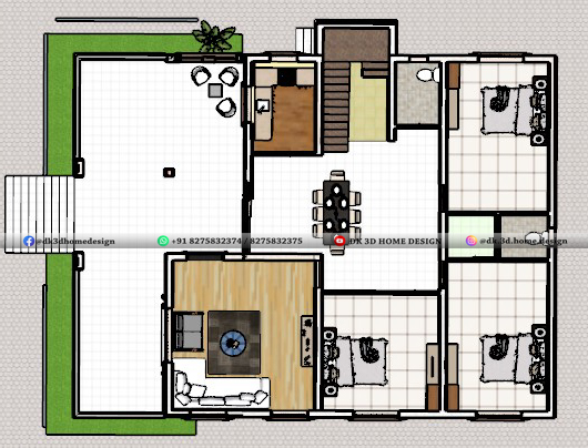 1600 sq ft house plan 3d cut section