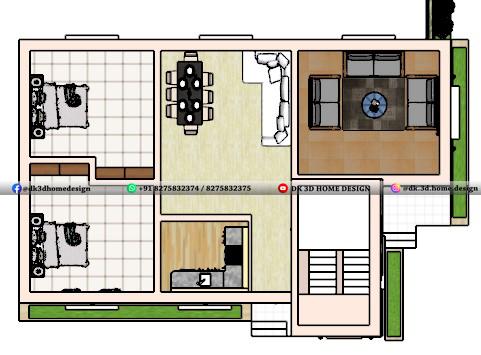 30x50 house plan 3d cut section