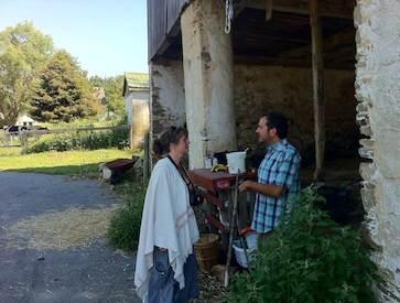 Rob Teti and Morgan Rowe talking at the main barn.