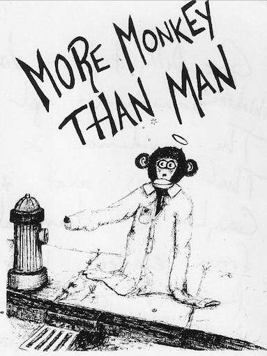 more monkey than man hydrant - original drawing by J