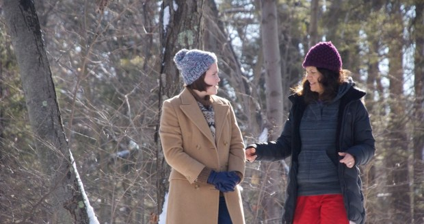 Eden Brolin and director Katie Cokinos on the set of I Dream Too Much