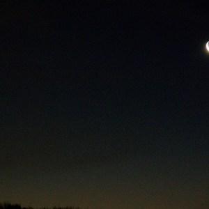 地球照の月と水星
