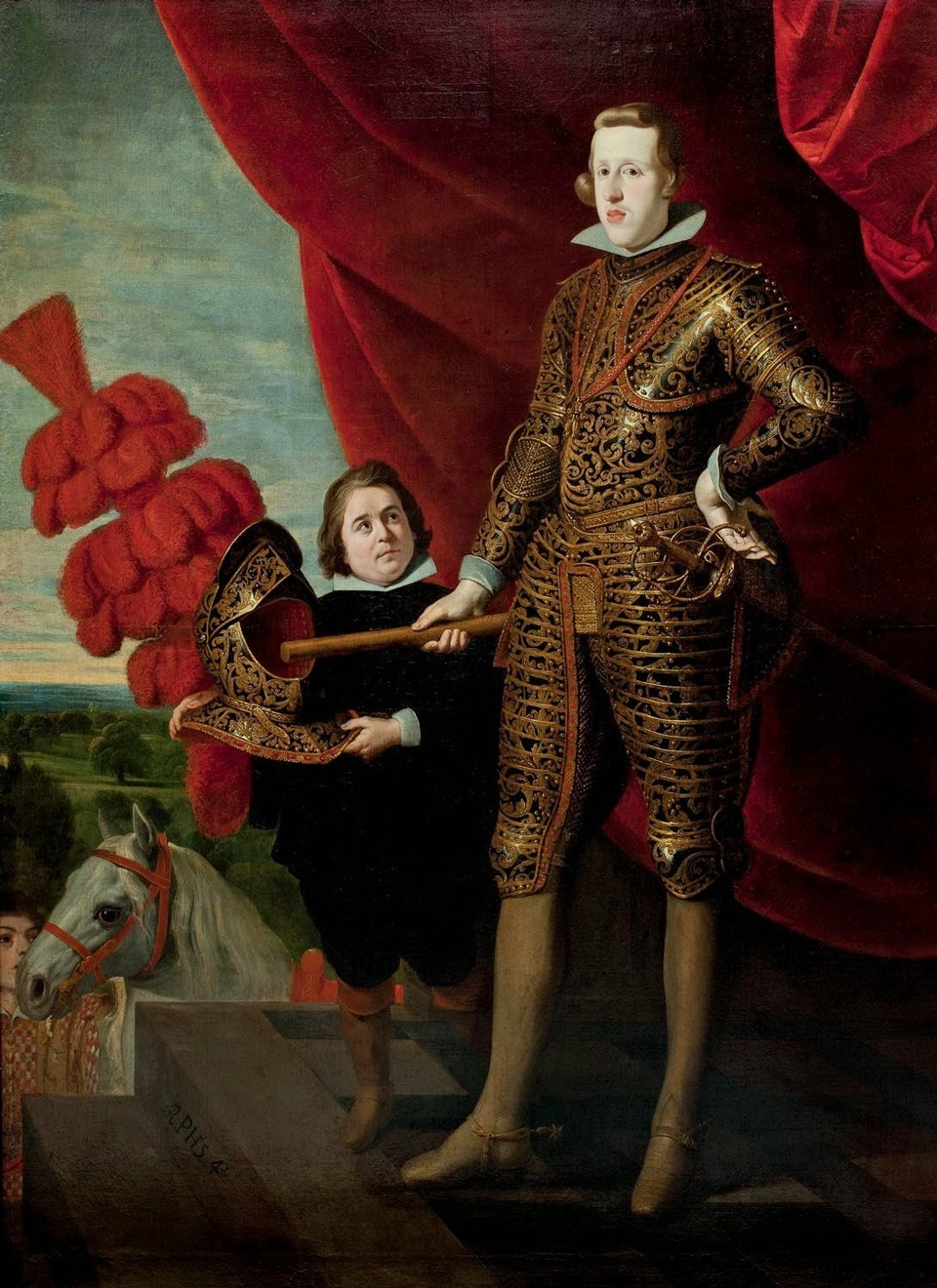 كان الملك (فيليب الرابع) يحب أقزام بلاطه كثيرا لدرجة جعل الرسامين يرسمون له لوحات فنية وهم بجانبه.