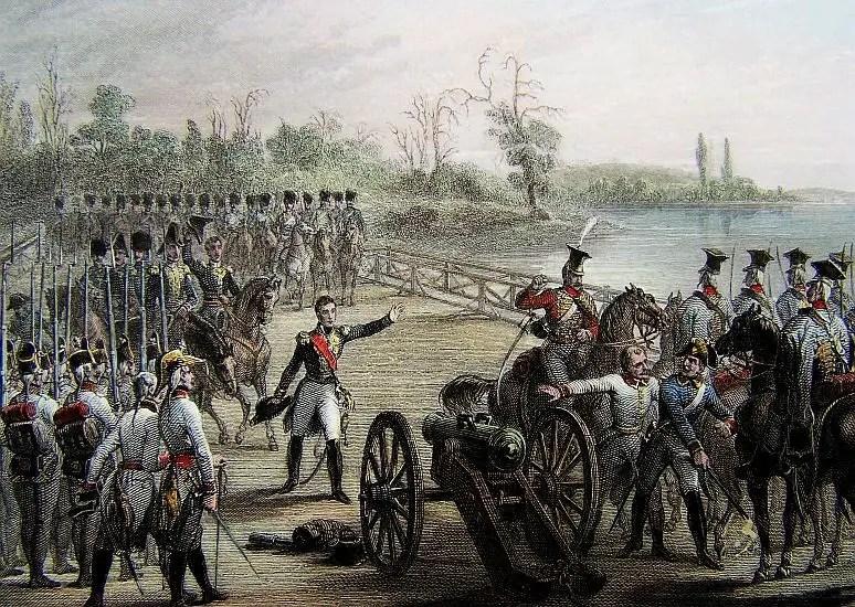 الفرنسيون وهم يكيدون سبيلهم نحو الاستيلاء على جسر (تابور).