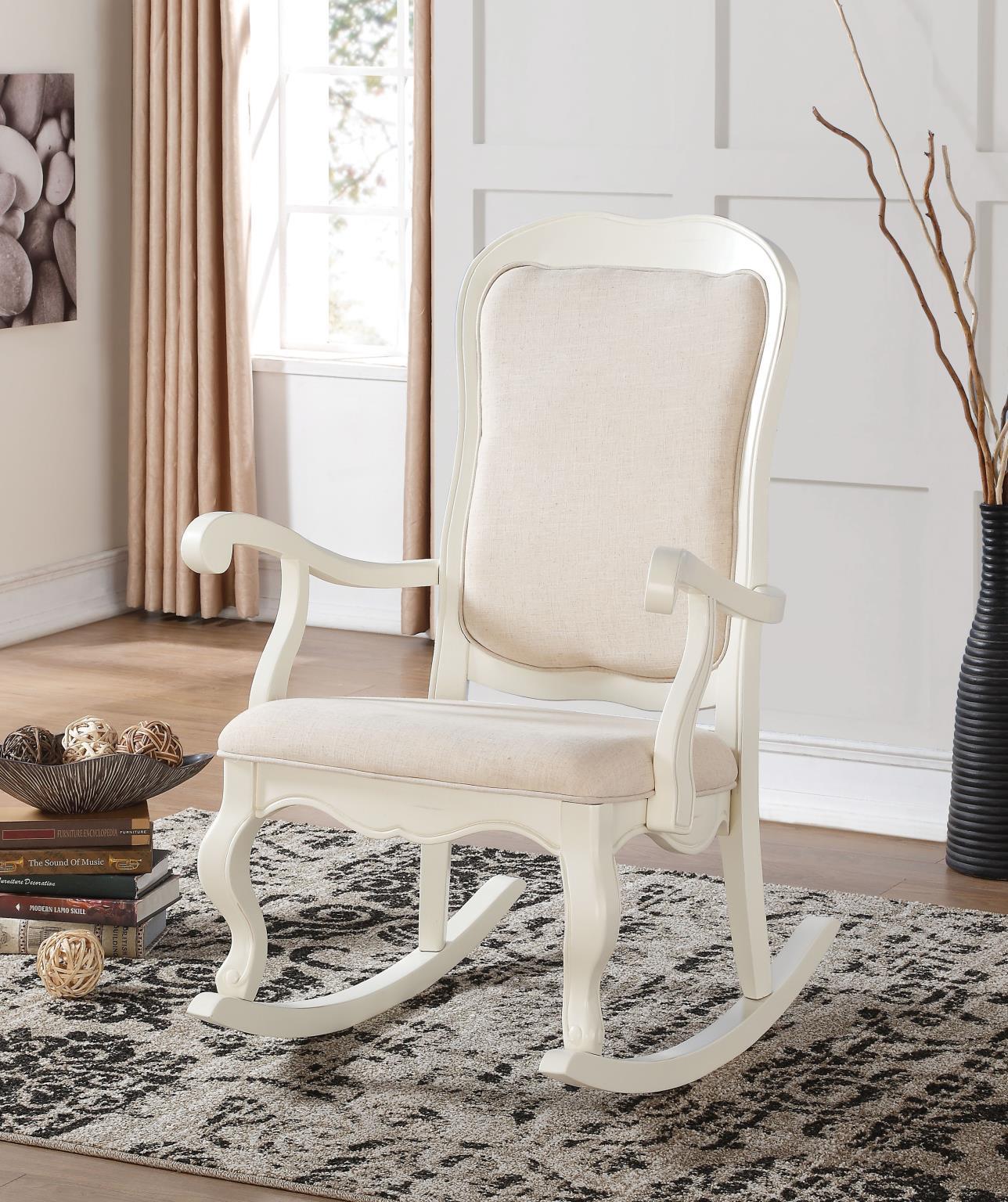 Sharan Antique White Fabric Rocking Chair