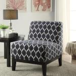 Hinte Armless Dark Blue Chenille Pattern Accent Chair