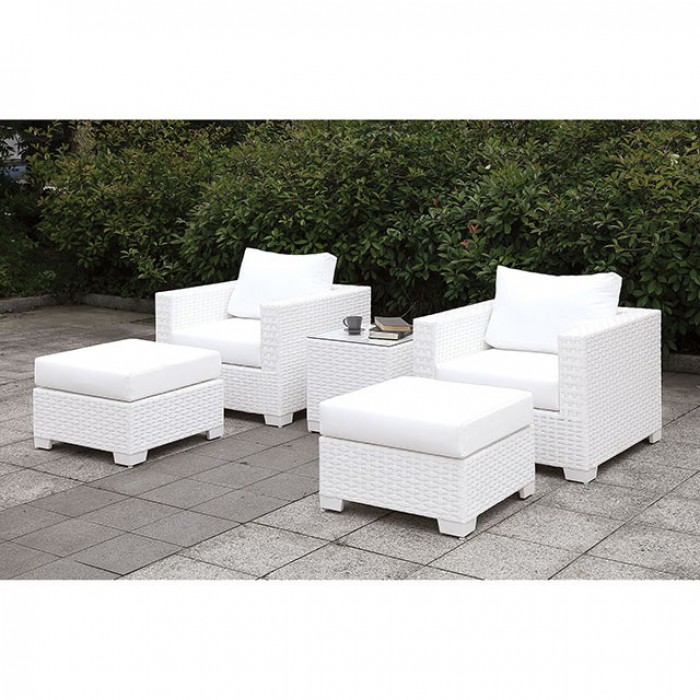 somani ii patio chairs with ottomans and end table