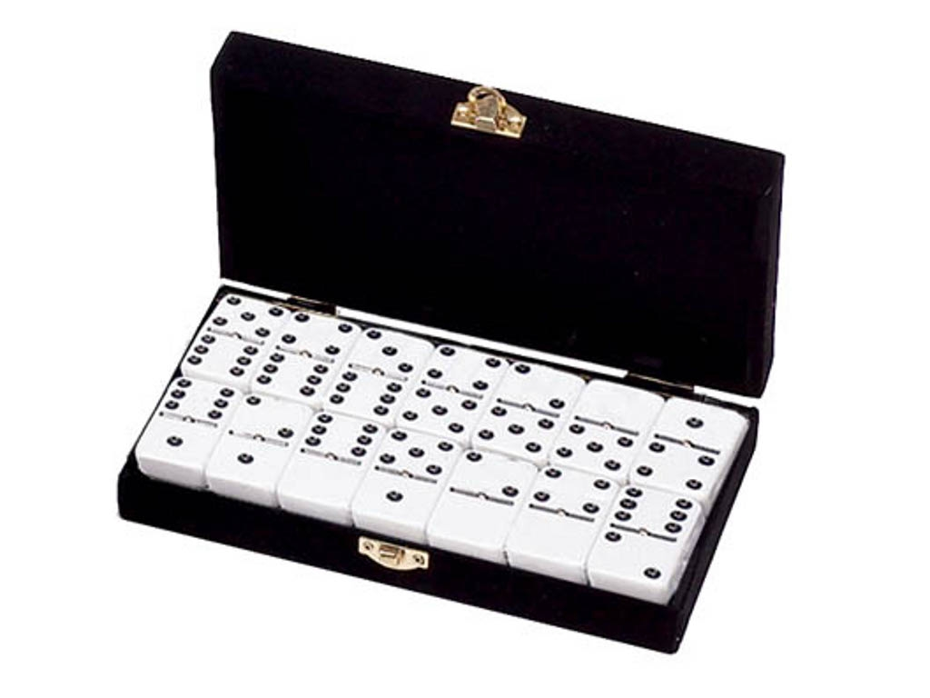 DOUBLE 6 White Dominoes Set - With Spinners - Velvet Box - Domino Sets - Colored Dominoes - Velvet Box - GammonVillage Store USA