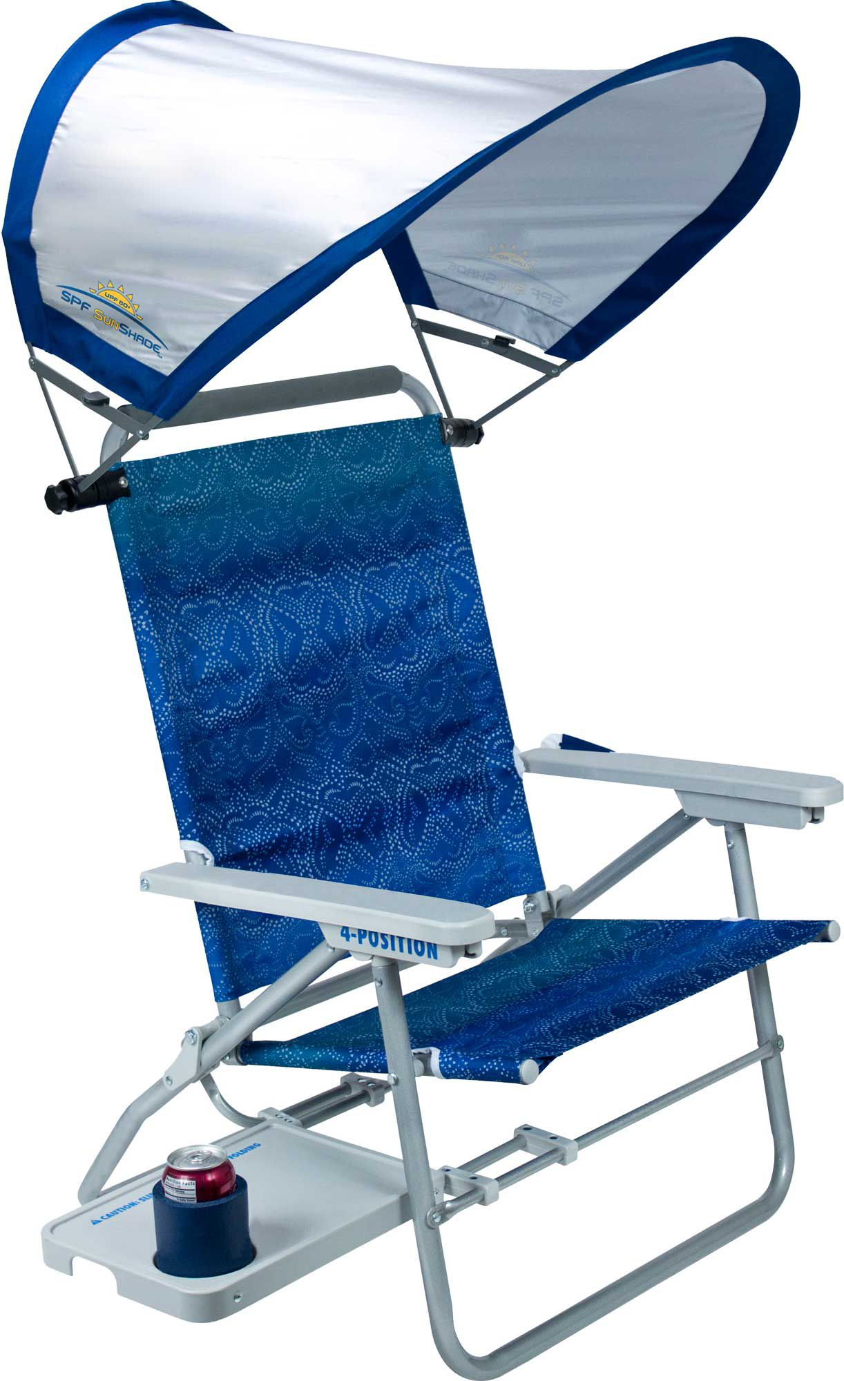 camping chairs with canopy floor mats for office shade coverage best price guarantee at dick s product image gci waterside big surf beach chair sunshade