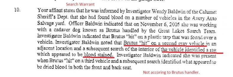 Wendy Baldwin Affidavit bloody rag