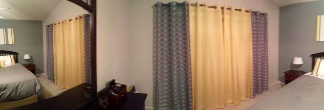 Yellow and grey curtains