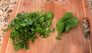 Chop cilantro and basil