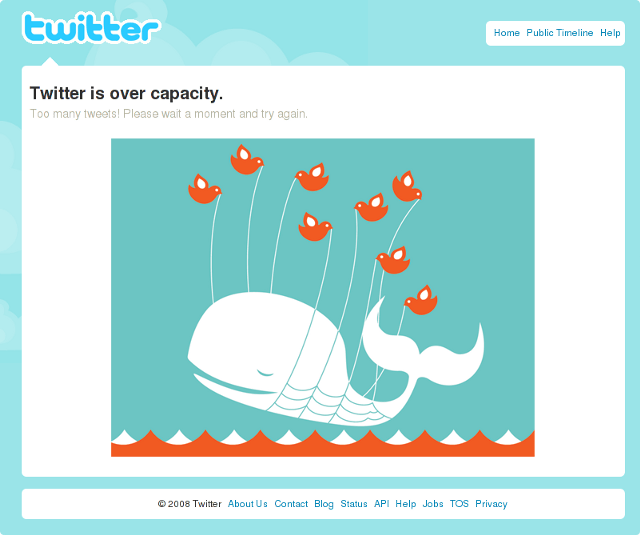 Twitter over capacity error page.