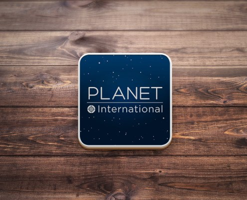 Planet International Graphic Design Artwork Print PDF Promotional Coaster