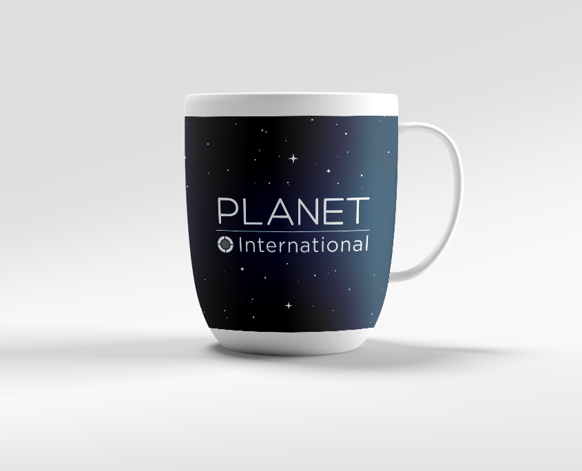 Planet International Graphic Design Artwork Print PDF Promotional Mug