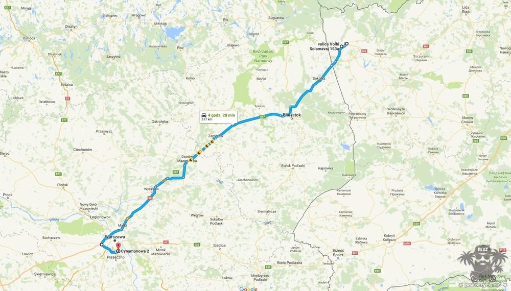 Podróż Życia, Białoruś motocyklem, mapa, dzień 4.