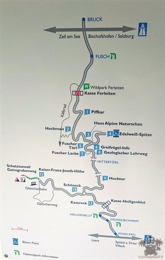 Jeśli ktoś jeszcze nie był, a ma zamiar, to tak wygląda trasa przejazdu przez Grossglockner