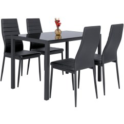 Kitchen Table And 6 Chairs Uk Wood Glider Chair 5 Piece Dining Set W Glass Top 4 Leather