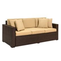 Outdoor Wicker Patio Furniture Sofa 3 Seater Luxury