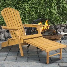 Bcp Wooden Adirondack Chair With Pull Ottoman