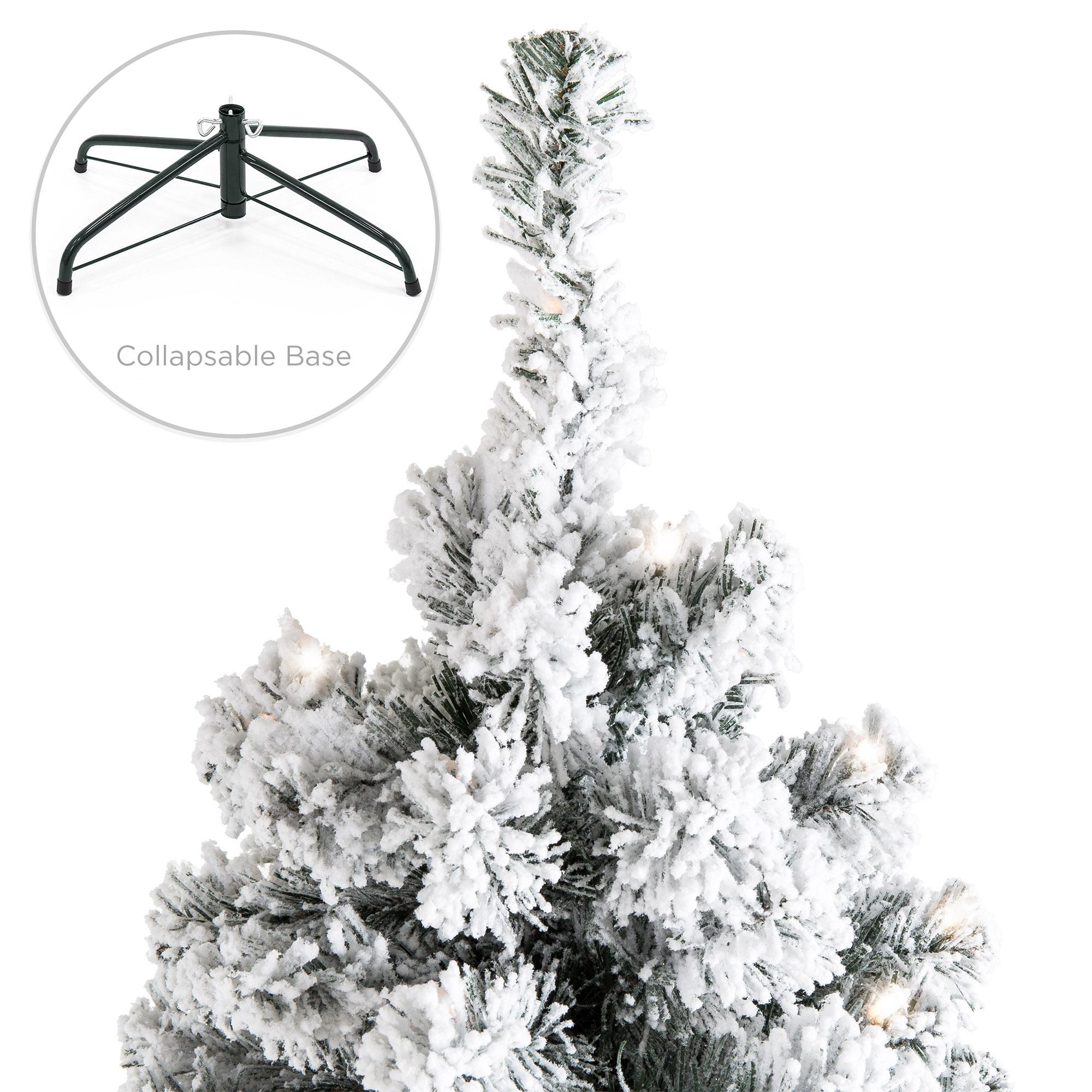 BCP Pre-Lit Snow Flocked Artificial Pine Christmas Tree w