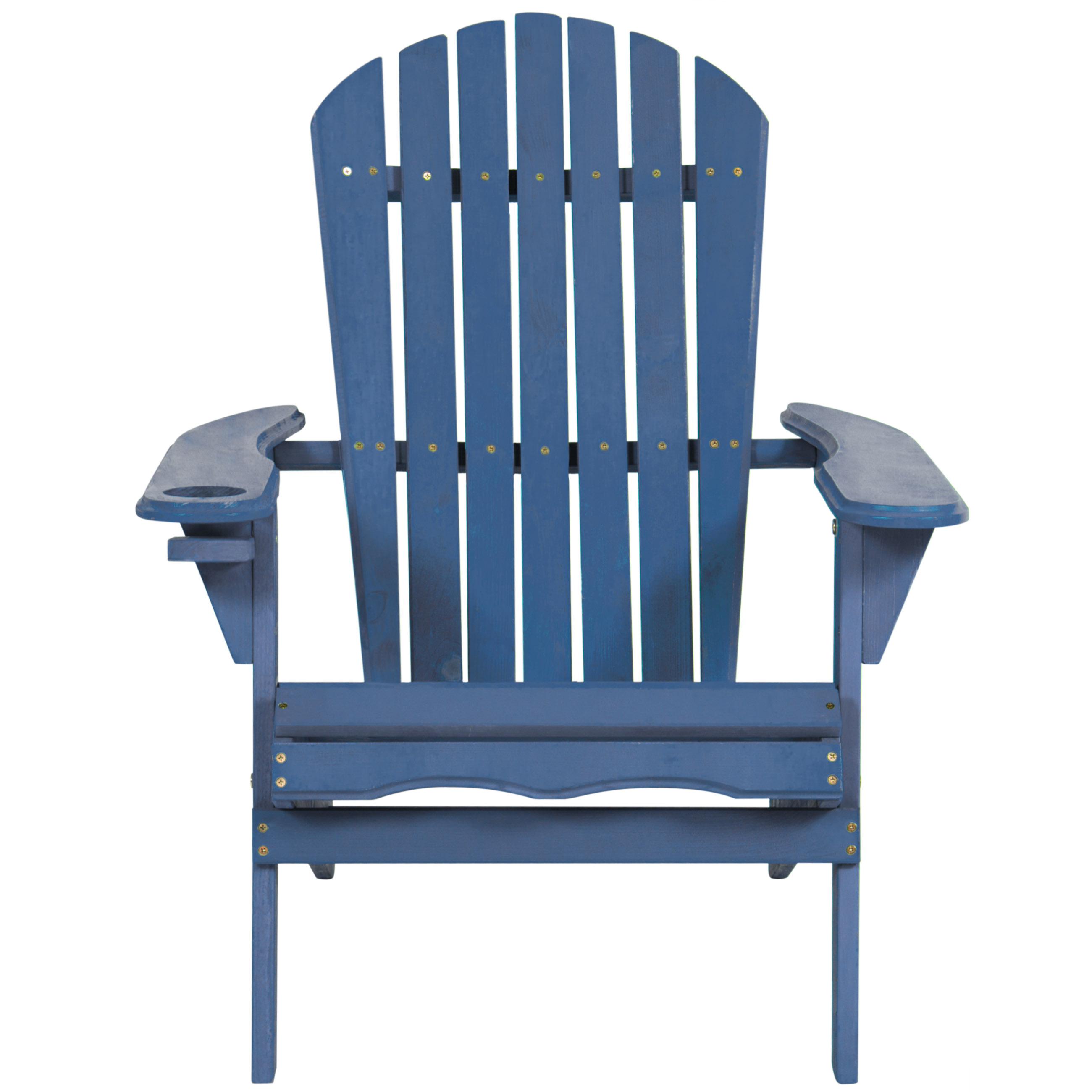 Outdoor Patio Folding Wooden Adirondack Chair W Cup