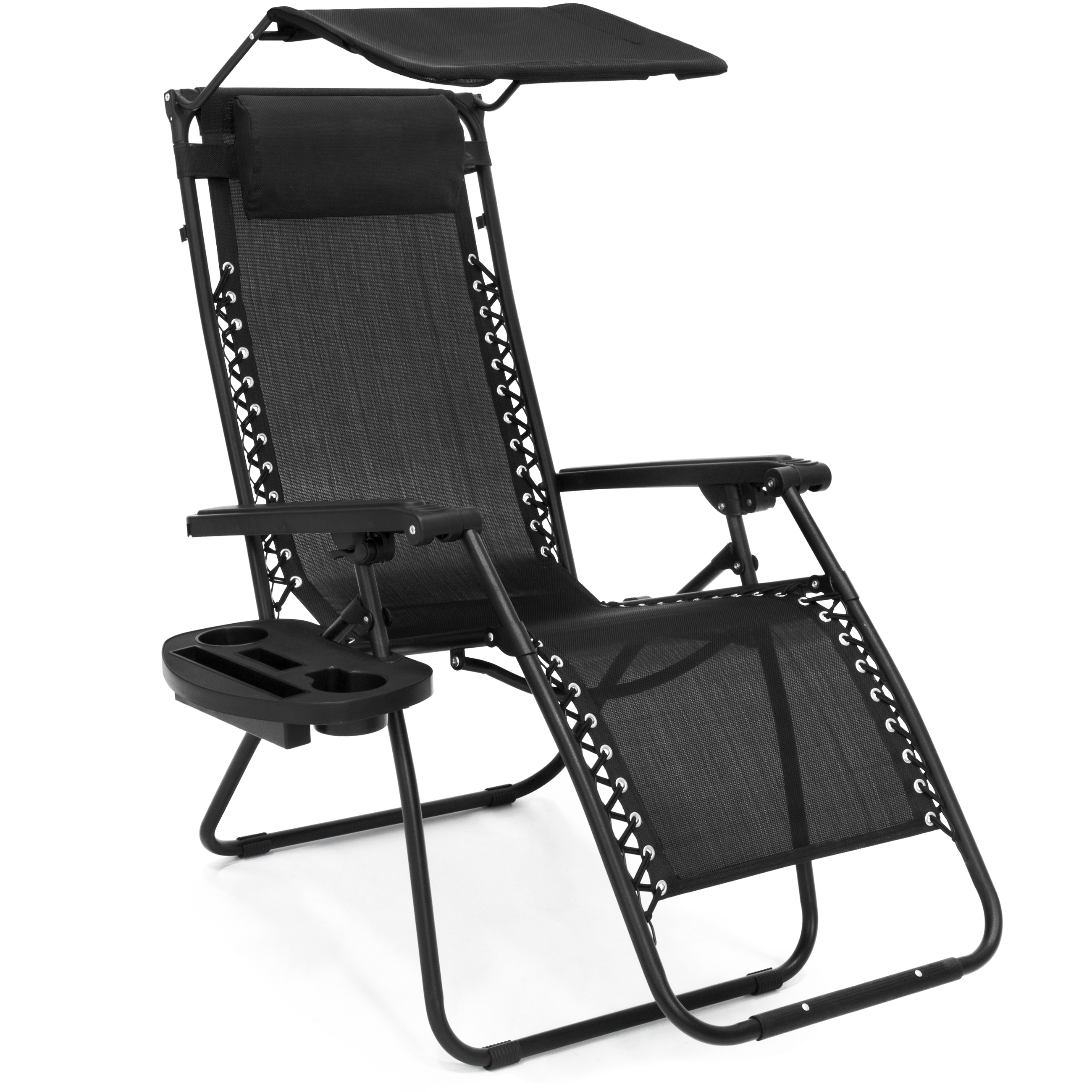 Beach Chair With Canopy And Cup Holder Folding Zero Gravity Recliner Lounge Chair W Shade And Cup