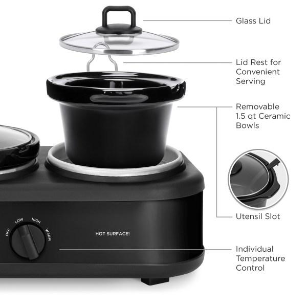 Bcp 4.5qt 300w Triple Slow Cooker Server With 3x 1.5-quart Pots Adjustable Temp