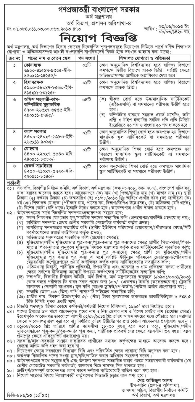 Job circular of ministry of finance Bangladesh