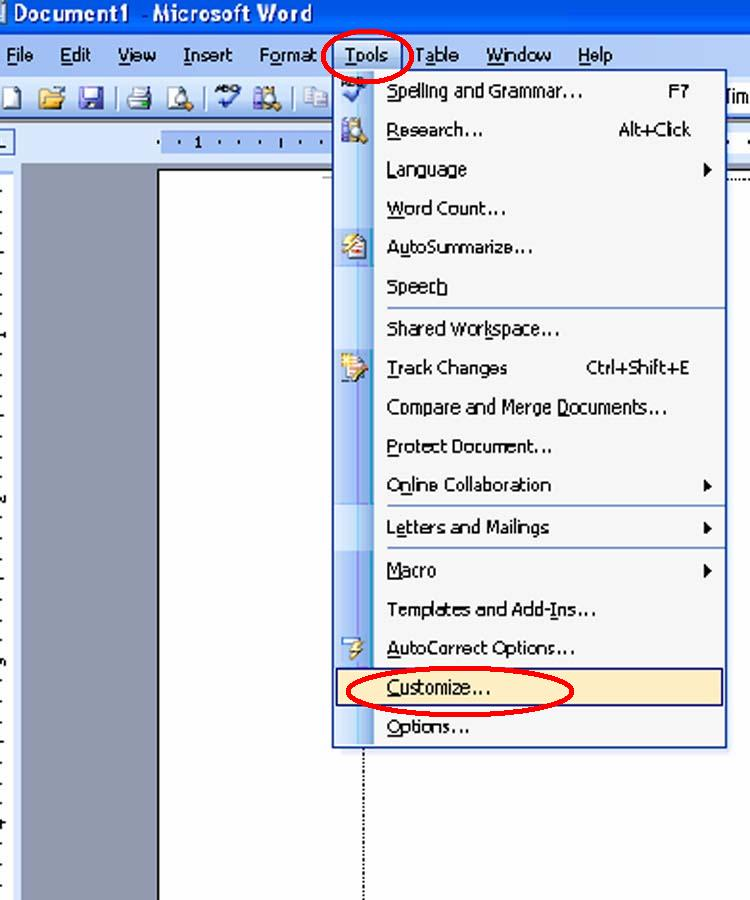 How to add some tools on M/S Word tools bar?