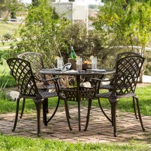 "42"" 5-piece Cast Aluminum Patio Outdoor Dining Set"