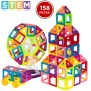 Bcp 158 Piece Kids Clear Magnetic Building Block Tiles Toy