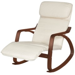 Rocking Chair With Footrest India Rattan Swivel Cushions Wood Recliner W Adjustable Foot Rest White