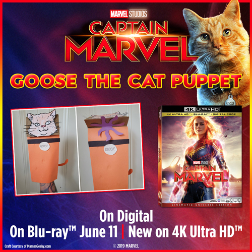 Goose the Cat Puppet Craft Captain Marvel Craft