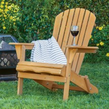 Bcp Foldable Wooden Adirondack Chair - Natural Finish