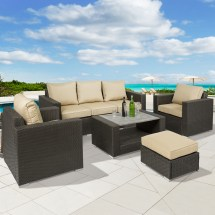 Bcp 7-piece Outdoor Wicker Sofa Furniture Set With Table
