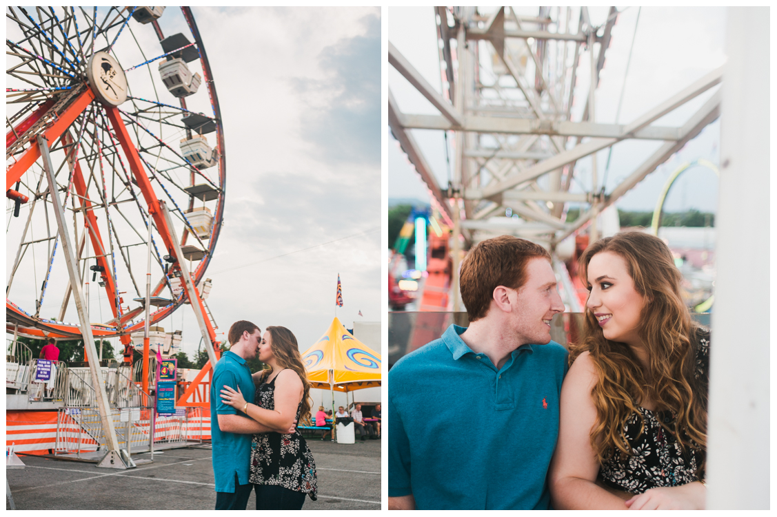 Kissing in front of a ferris wheel - Carnival Engagement - Courtney and Alan